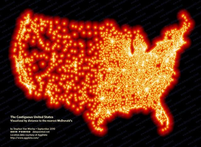 アメリカではマクドナルドから185キロ以上離れることができない